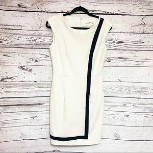 Calvin Klein Sheath Dress 6 Off White Black Stripe